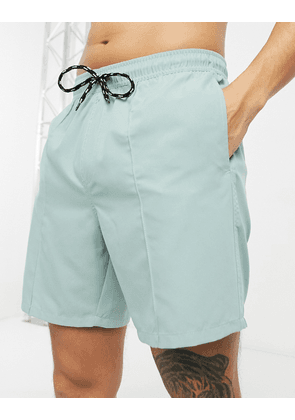 ASOS DESIGN swim shorts in grey with pintuck in mid length