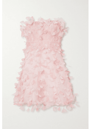 Dolce & Gabbana - Strapless Feather-embellished Silk-tulle Mini Dress - Pink