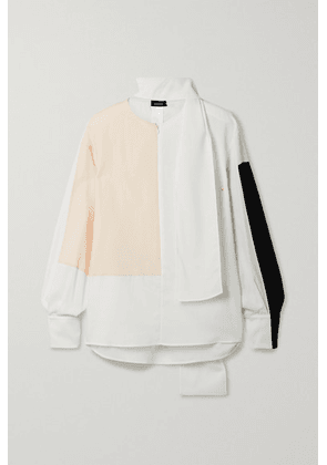 Akris - Tie-detailed Color-block Wool-twill Blouse - Off-white