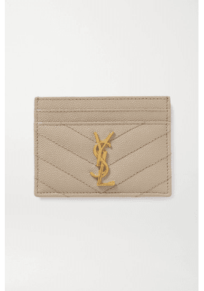 SAINT LAURENT - Monogramme Quilted Textured-leather Cardholder - Cream