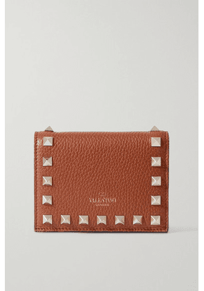 Valentino - Valentino Garavani Rockstud Textured-leather Wallet - Tan