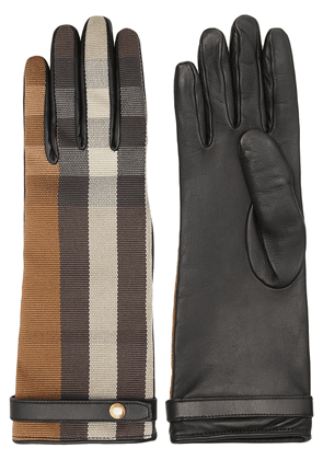 Burberry technical check gloves - Brown