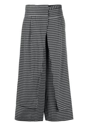 Enföld checked apron layer trousers - Black