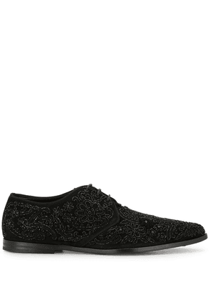 Dolce & Gabbana embroidered derby shoes - Metallic