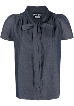 Boutique Moschino pussybow chambray blouse - Blue