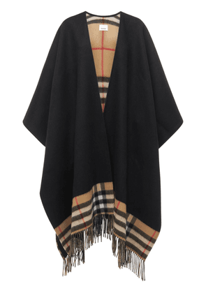 Checked Wool & Cashmere Knit Shawl