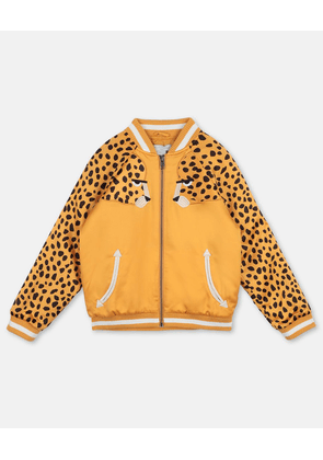Stella McCartney Kids Orange Cheetah Patch Satin Bomber, Unisex, Size 2