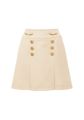 Argyle Wool Mini Skirt W/ Front Buttons