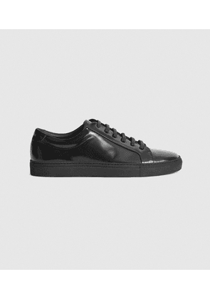 Reiss Luca - High Shine Leather Trainers in High-shine Black, Mens, Size 8