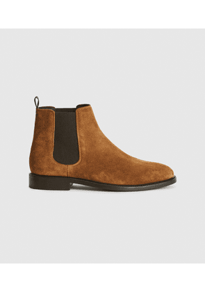 Reiss Tenor - Suede Leather Chelsea Boot in Toffee, Mens, Size 8