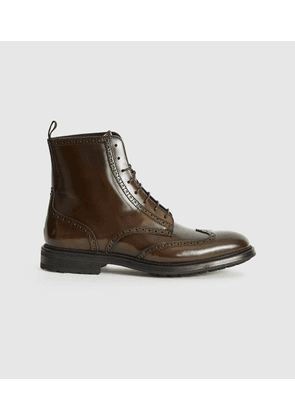 Reiss Stepney - Brogue Detail Boots in Brown, Mens, Size 10