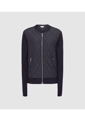 Reiss Ayla - Hybrid Zip Through Quilted Jumper in Navy, Womens, Size 4