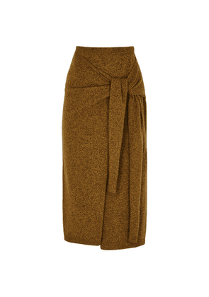 Erika Cavallini Brown Wool-blend Wrap Skirt