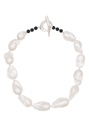 Baroque pearl and sterling silver necklace