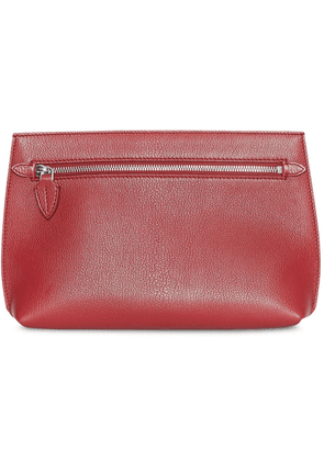 Burberry Grainy Leather Wristlet Clutch - Red