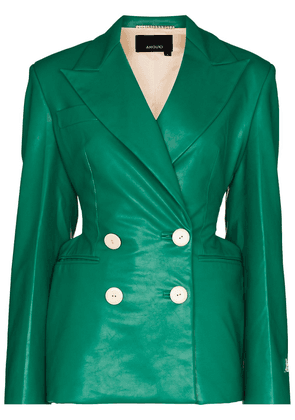 ANOUKI double-breasted faux-leather blazer - Green