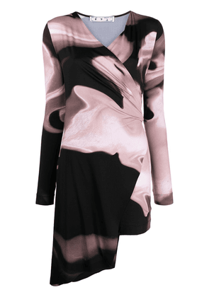 Off-White abstract-print wrap-style dress - Pink