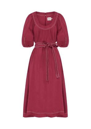 Aje Rebellion Belted and Linen and Silk-Blend Midi Dress