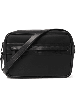 SAINT LAURENT - Camp Leather-Trimmed Shell Messenger Bag - Men - Black