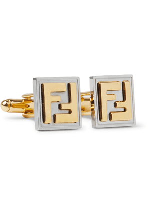 FENDI - Logo-Embossed Gold-Tone and Palladium-Plated Cufflinks - Men - Gold