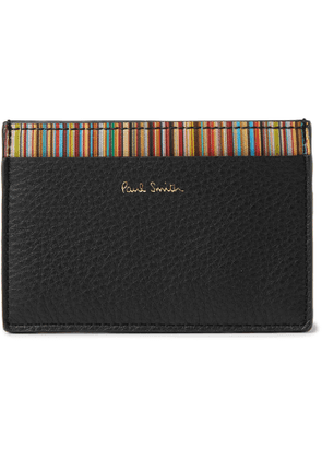 PAUL SMITH - Stripe-Trimmed Pebble-Grain Leather Cardholder - Men - Black