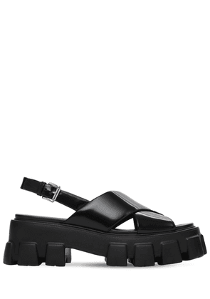 55mm Monolith Brushed Leather Sandals