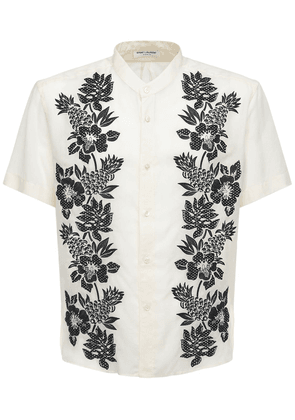 Floral Embroidery Cupro Shirt