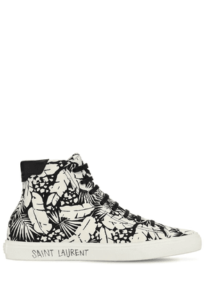 Palm Print High Top Canvas Sneakers