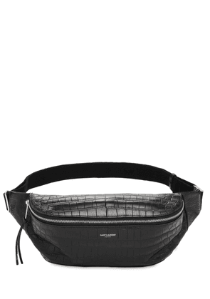 Croc Embossed Leather Belt Bag
