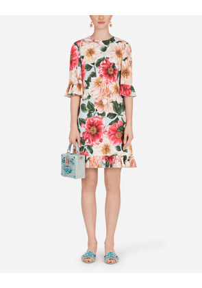 Dolce & Gabbana Dresses - SHORT CAMELLIA-PRINT CADY DRESS WITH RUFFLE DETAILING FLORAL PRINT female 40