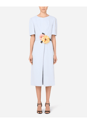 Dolce & Gabbana Dresses - CADY MIDI DRESS WITH FLORAL DETAILING BLUE female 36