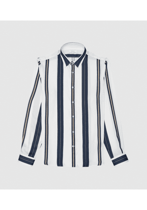Reiss Fontaine - Regular Fit Striped Shirt in White, Mens, Size XS