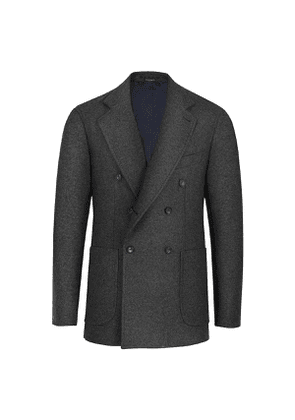 Green Cashmere Double-Breasted Blazer