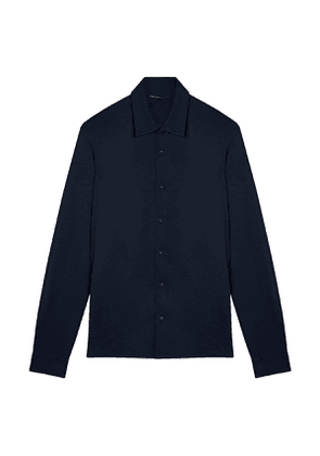 Navy Cotton Buttoned Casual Shirt