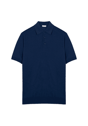 Navy Cotton Knitted Polo Shirt