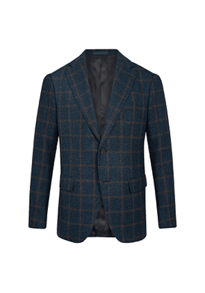 Blue and Brown Wool Windowpane Check Jacket