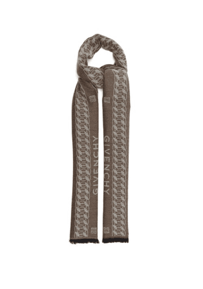 Givenchy - Chain-jacquard Wool-blend Scarf - Mens - Beige