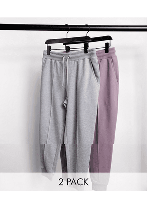 ASOS DESIGN tapered joggers with pin tuck in grey marl & purple 2 pack-Multi