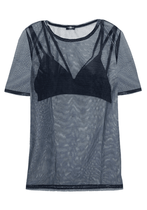 Cosabella Bisou Holographic Mesh And Stretch-jersey T-shirt And Bralette Set Woman Midnight blue Size M