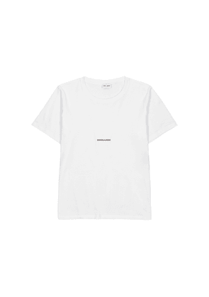 Saint Laurent White Logo Cotton T-shirt