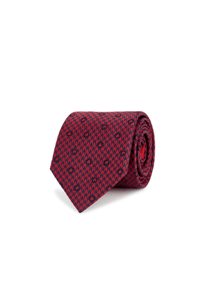 Salvatore Ferragamo Giancini Red Houndstooth Silk Tie