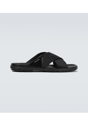 Criss-cross logo slides