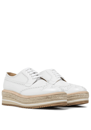 Brushed leather platform brogues