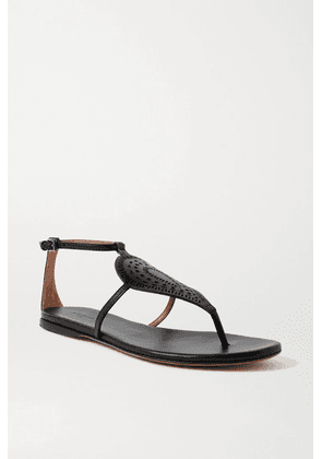 Alaïa - Laser-cut Leather Sandals - Black