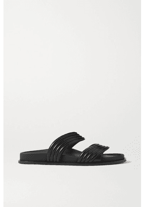 Alaïa - Ribbed Leather Slides - Black