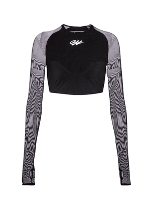 Logo stretch-jersey and mesh crop top