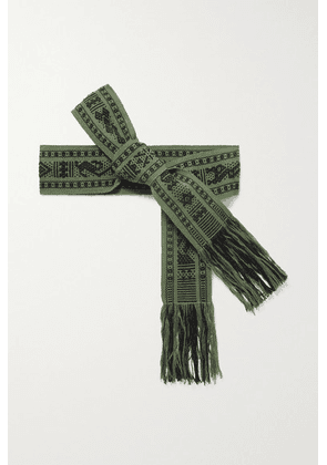 Pippa Holt - + Net Sustain Fringed Cotton-jacquard Belt - Army green