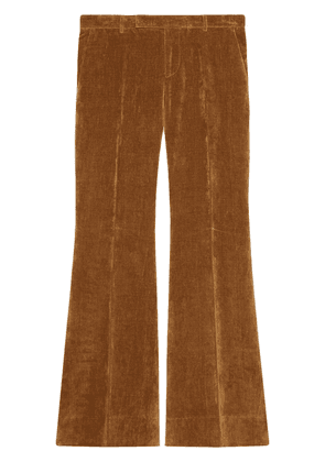Gucci velvet-effect wide-leg trousers - Brown