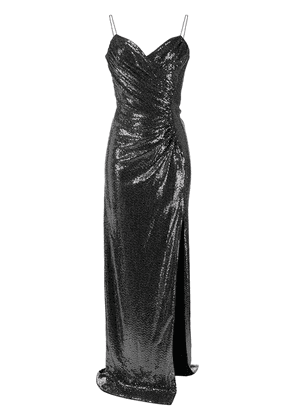 Azzaro sweetheart-neck sequin gown - SILVER