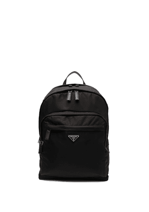 Prada logo-plaque backpack - Black